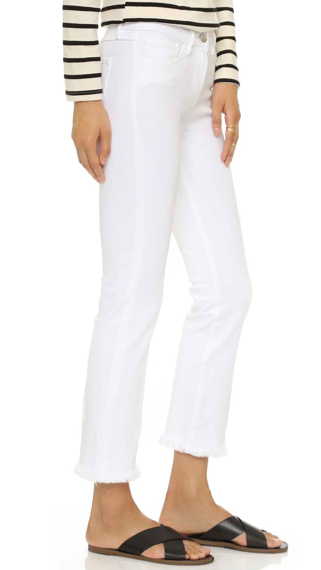 White cropped bootcut jeans
