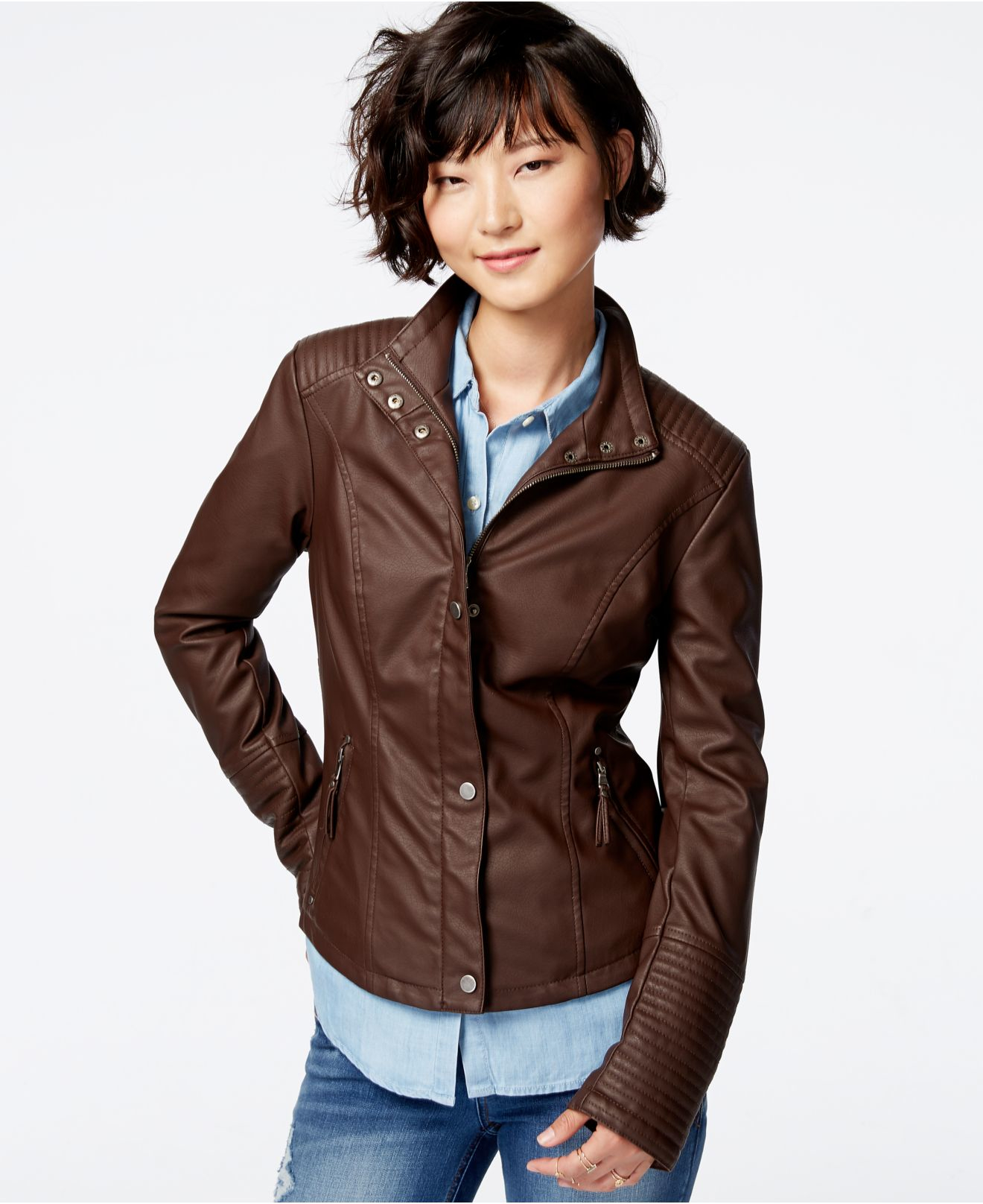 Celebrity pink Faux-leather Moto Jacket in Brown | Lyst