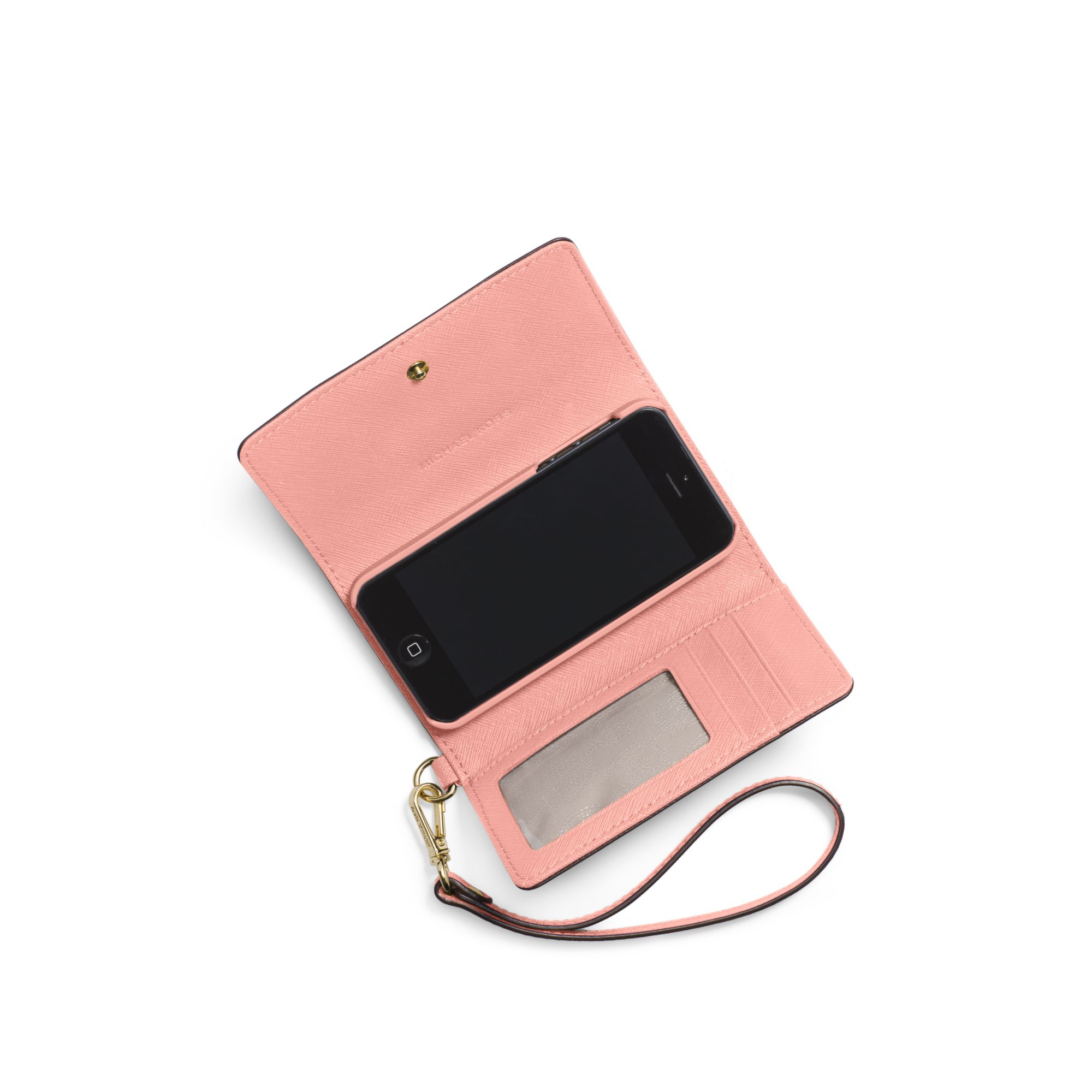 ba004ac3b6 Lyst Michael Kors Saffiano Leather Phone Wristlet For Iphone 5 In Pink