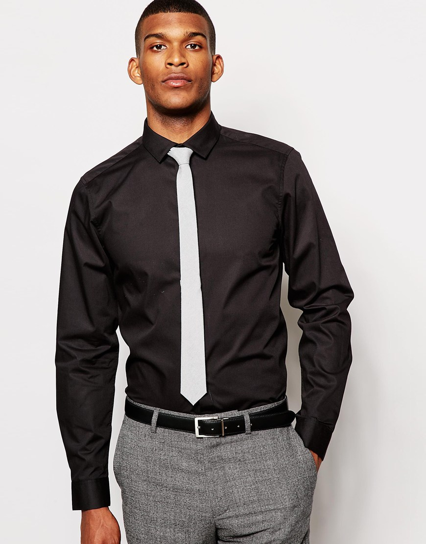 Lyst Asos Smart Shirt And Tie Set Save 20 In Black For Men