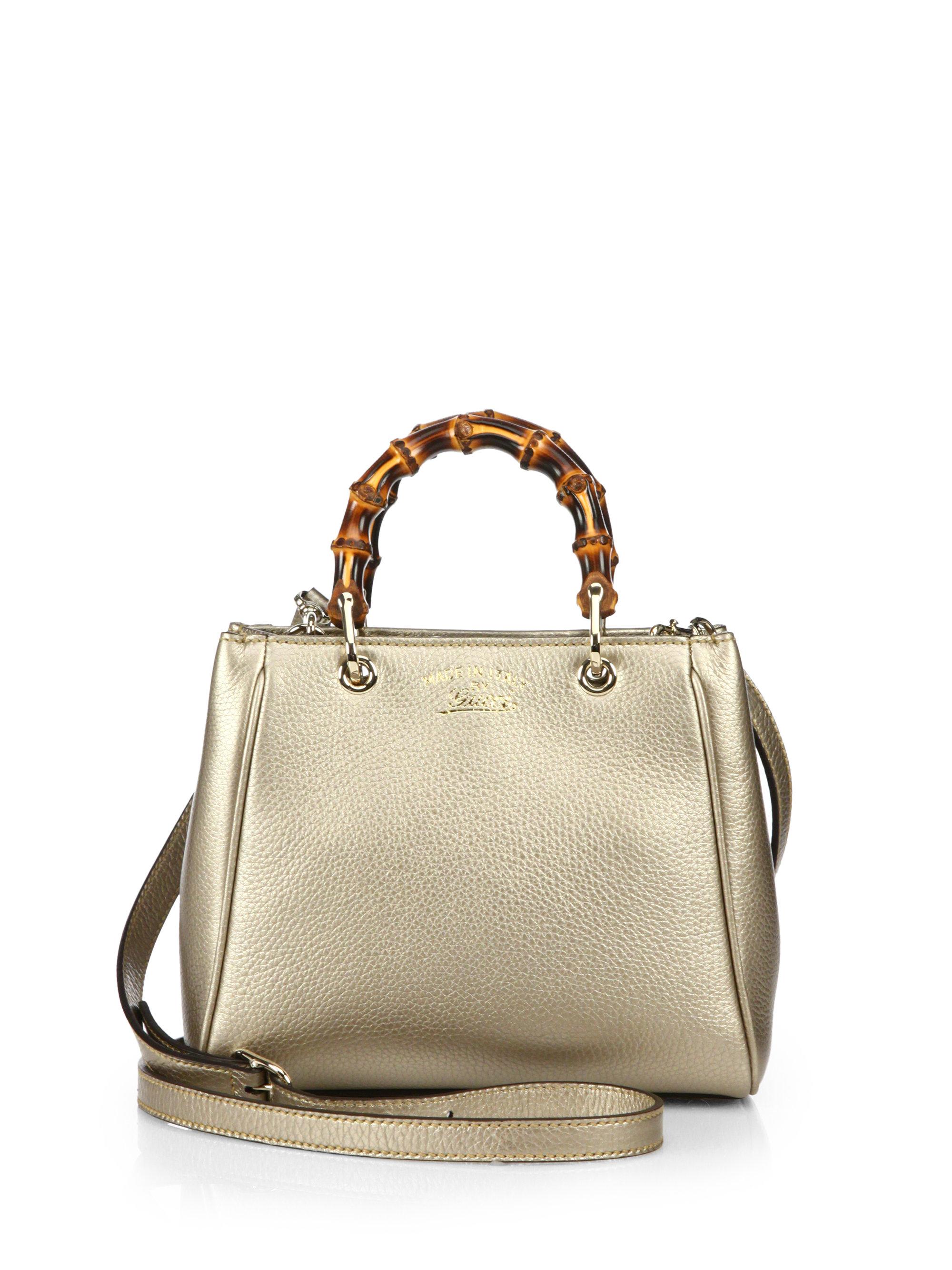a64aba81331 Lyst - Gucci Bamboo Shopper Mini Leather Top Handle Bag in Metallic