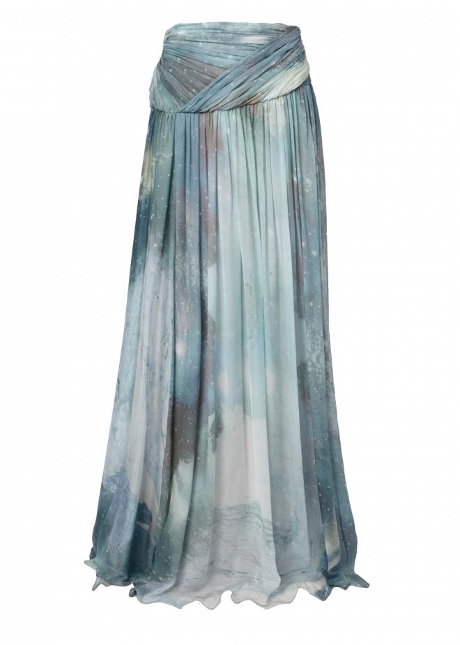 matthew williamson aquamarine patina galaxy chiffon maxi
