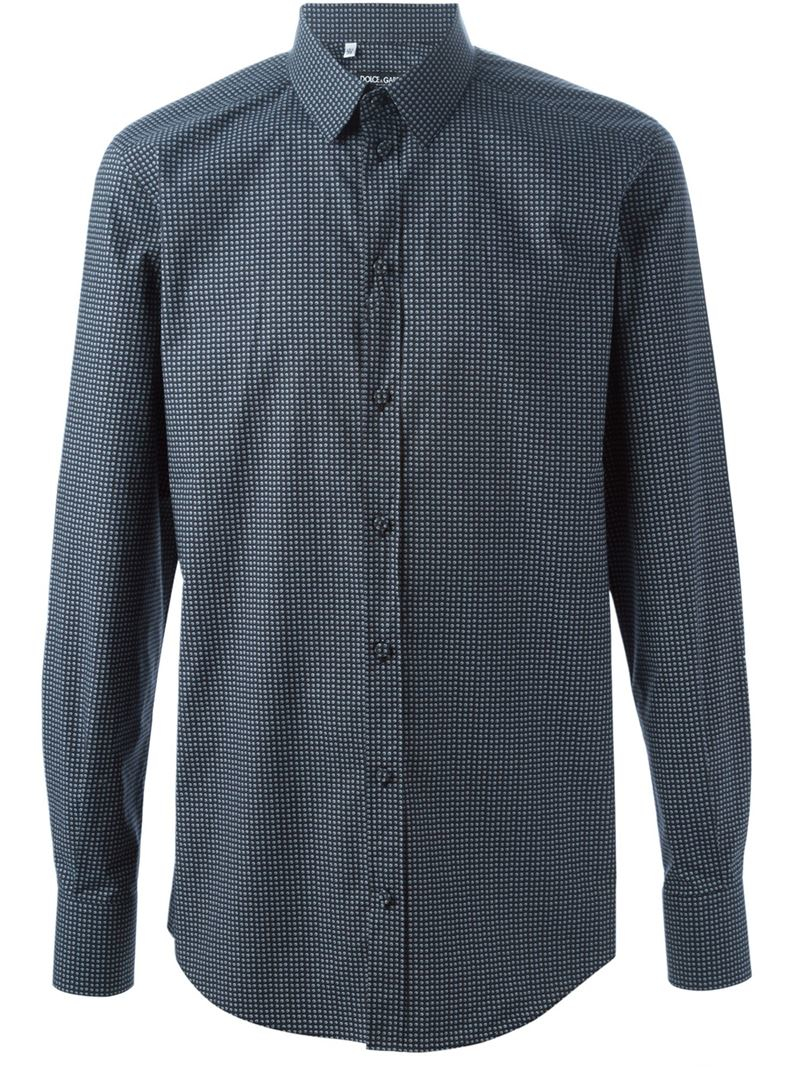 Lyst Dolce Gabbana Printed Shirt In Blue For Men