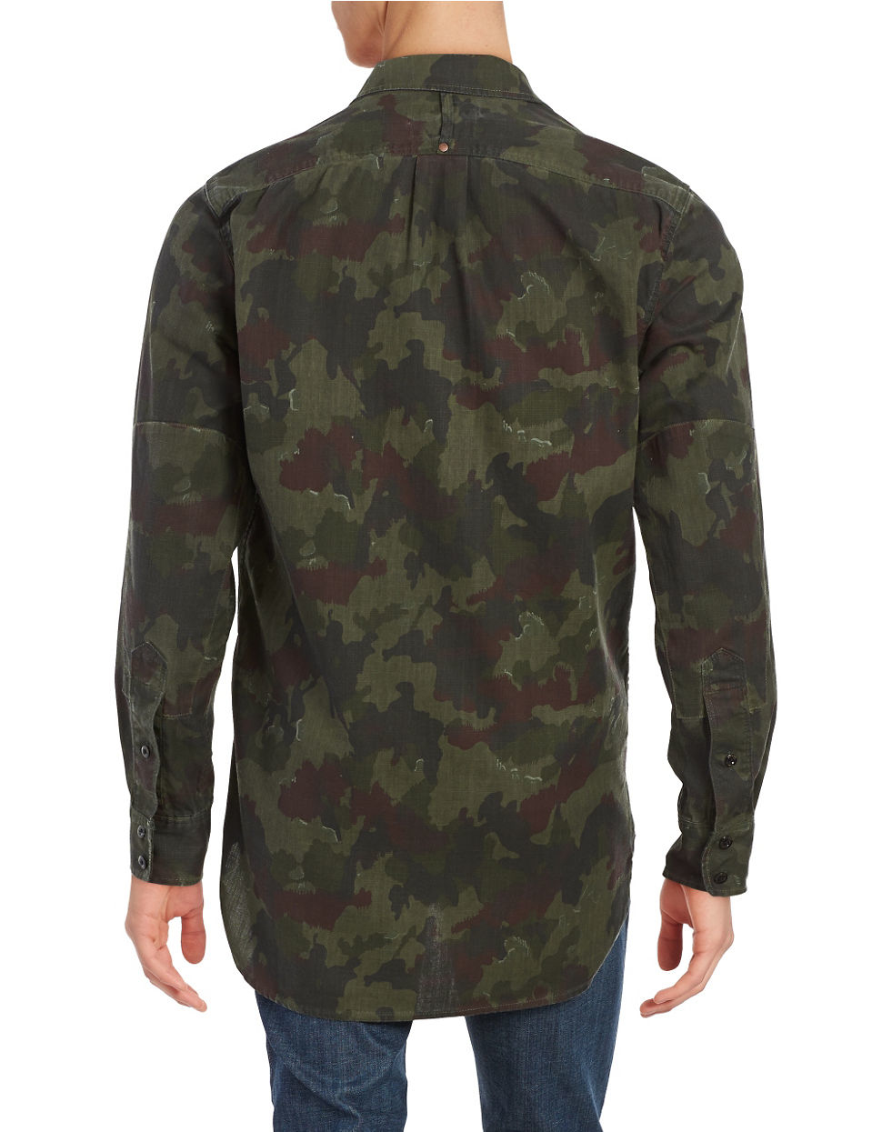 g star raw camo sportshirt in green for men lyst. Black Bedroom Furniture Sets. Home Design Ideas