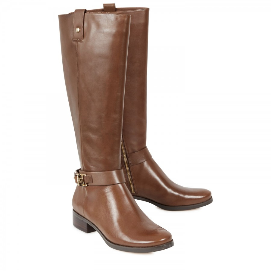michael kors charm leather knee boots in brown lyst