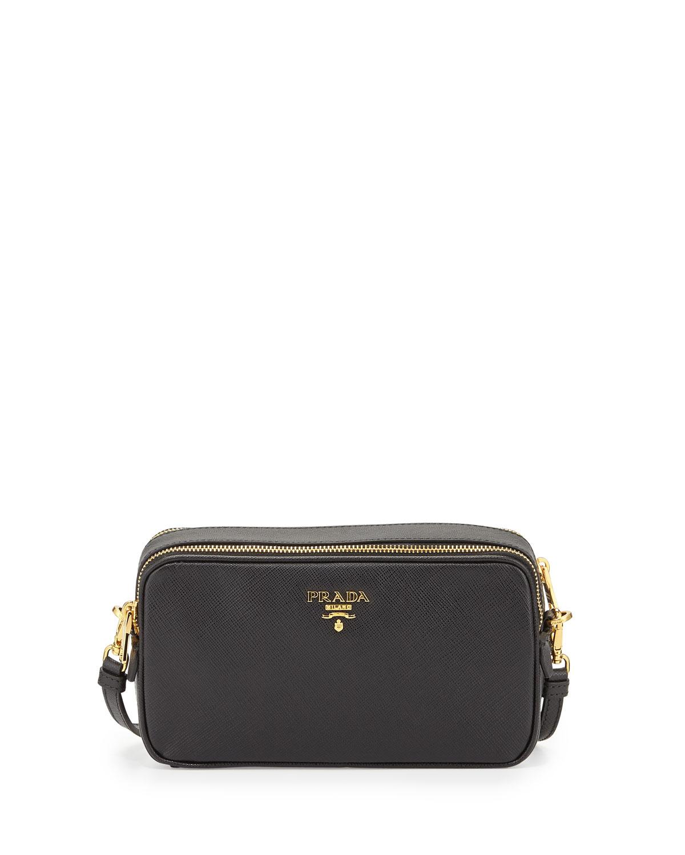 ... purchase lyst prada saffiano mini crossbody bag in black 37e9e e1b1c e234e5f29e7f5
