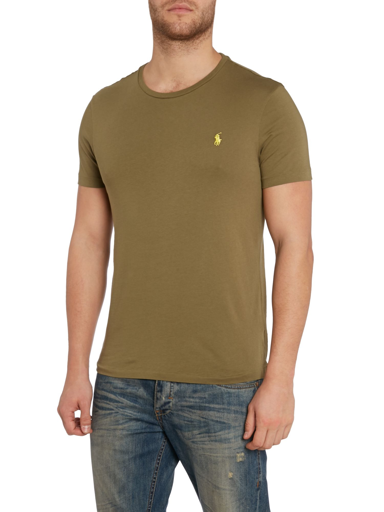 polo ralph lauren custom fit crew neck short sleeve t shirt in green for men lyst. Black Bedroom Furniture Sets. Home Design Ideas