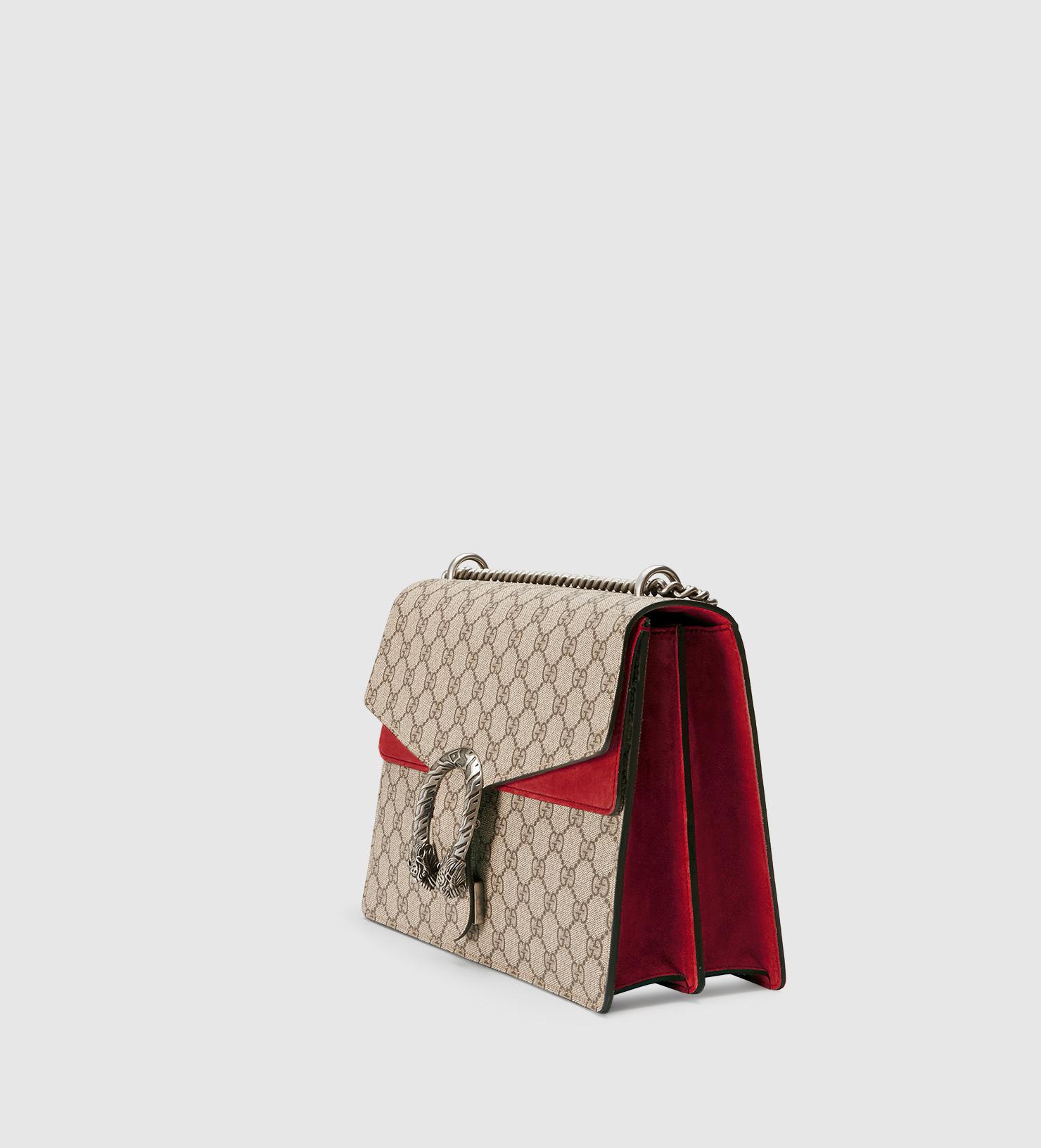21c932a1cafe Gucci Dionysus GG Supreme Canvas Shoulder Bag in Natural - Lyst