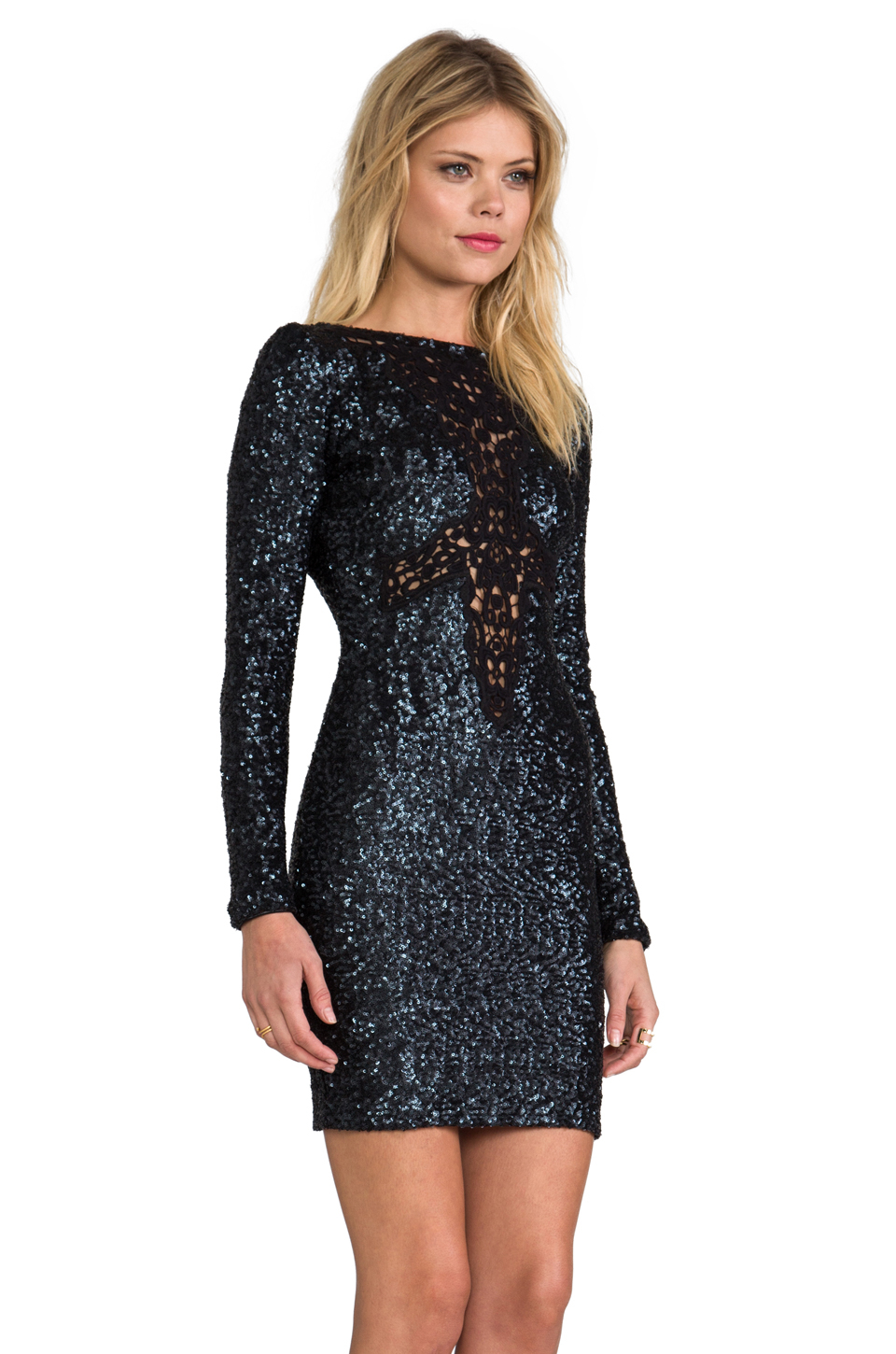 Dress the population Dani Long Sleeve Sequin Dress in Charcoal in ...