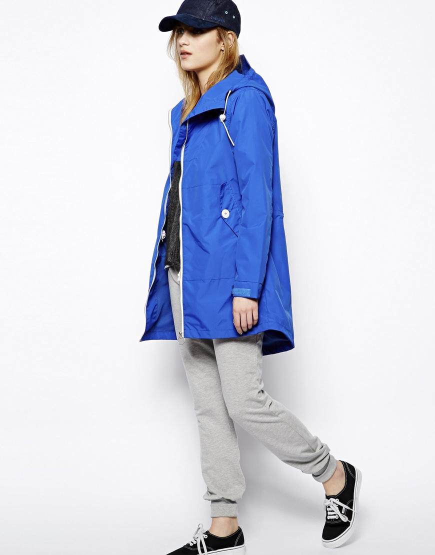 Penfield Gibson Long Rain Jacket in Blue | Lyst