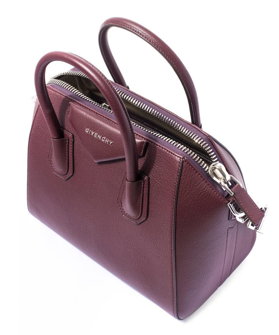 5ee936bde9 Givenchy Small Burgundy Antigona Sugar Pebbled Leather Bag in Purple ...