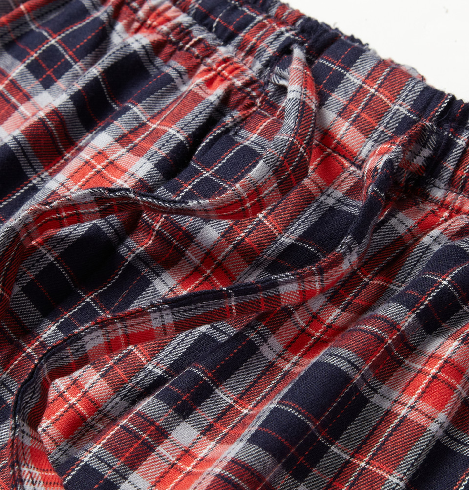 lyst derek rose ranga plaid cotton pyjama trousers in red for men. Black Bedroom Furniture Sets. Home Design Ideas