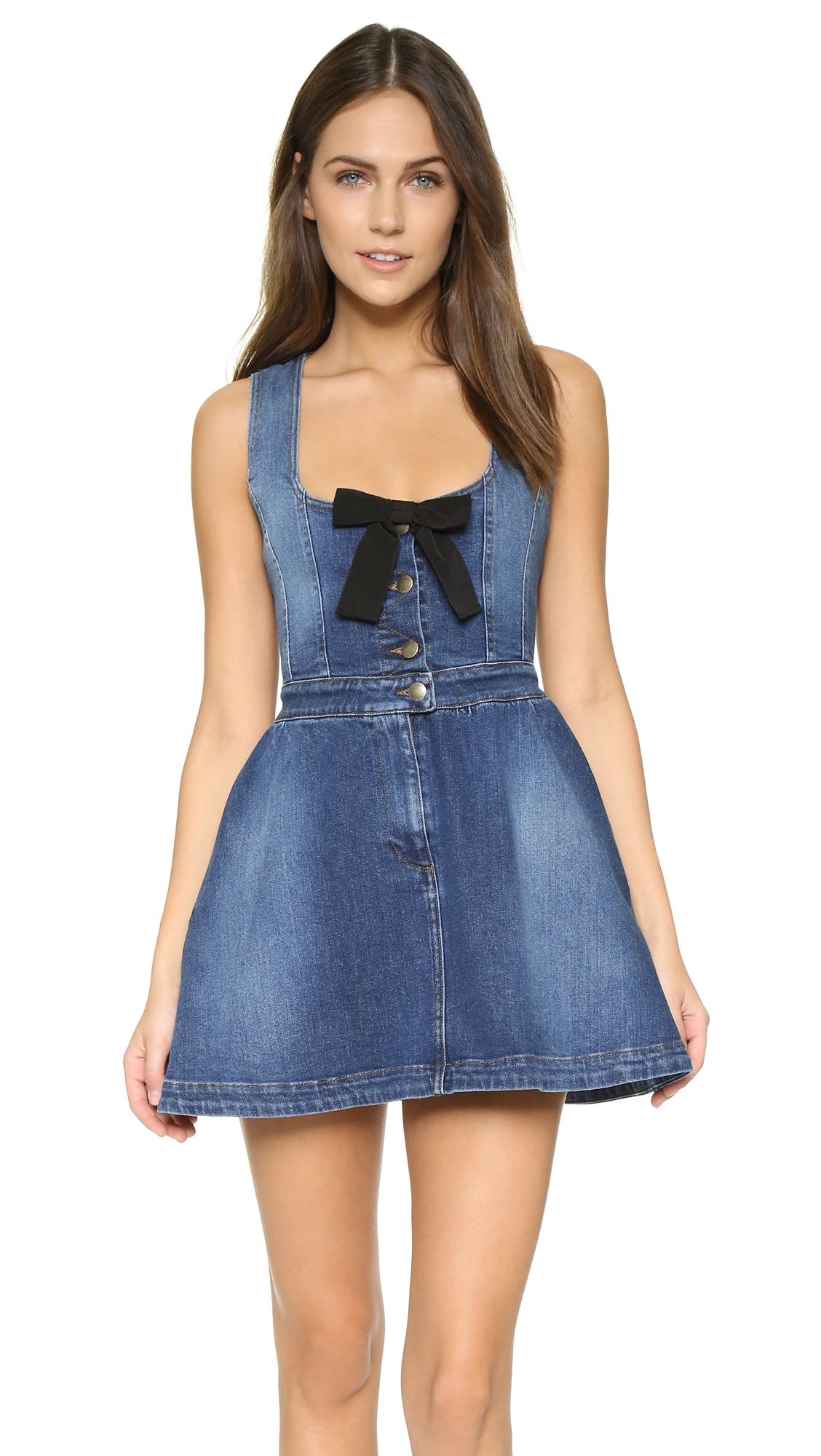 red valentino denim bow dress in blue lyst