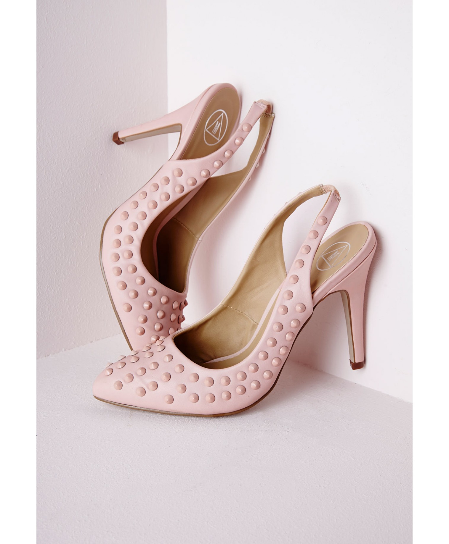 missguided studded sling back court shoes baby pink in