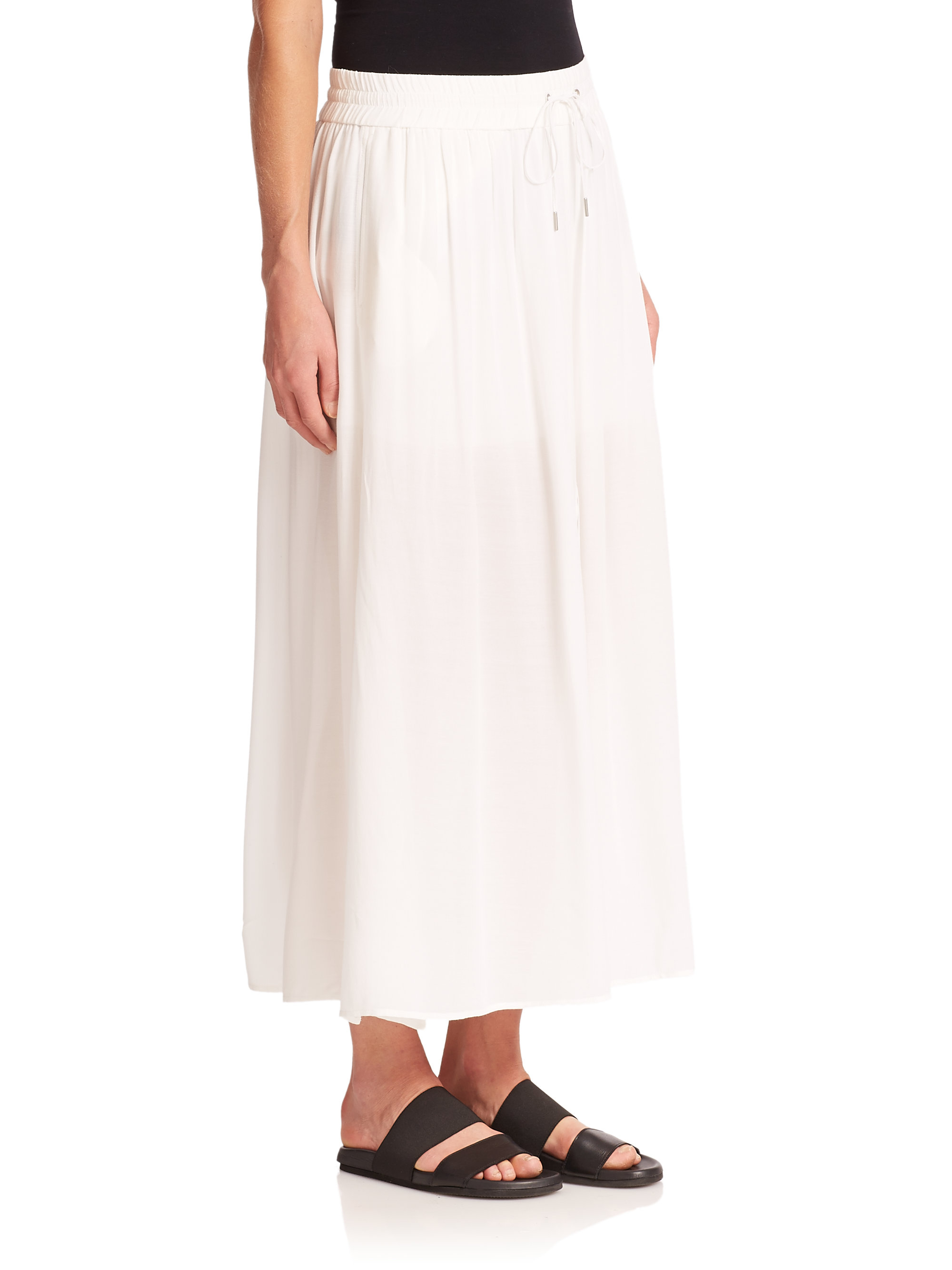 helmut lang shirred maxi skirt in white lyst