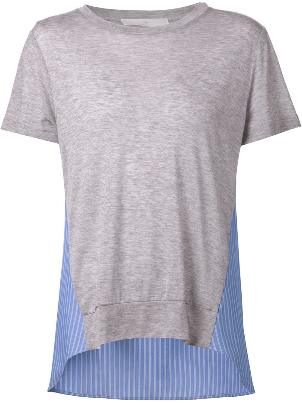 Thakoon addition striped panel t shirt in gray grey lyst for Grey striped t shirt