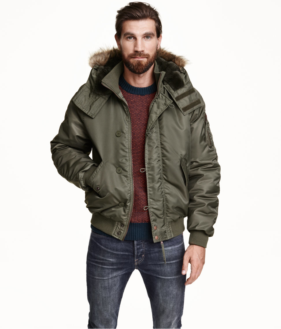 H Amp M Bomber Jacket With A Hood In Natural For Men Lyst