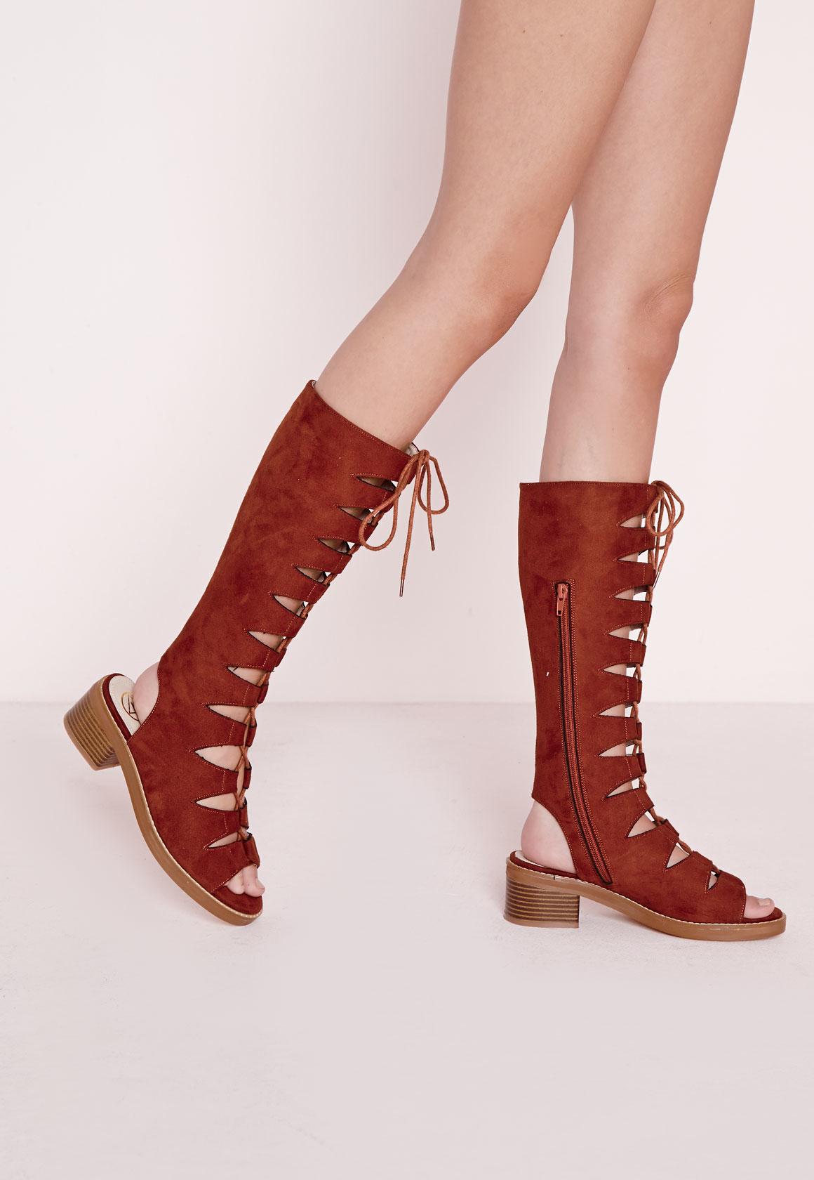f0c995aff0c Missguided Mid Calf Gladiator Sandals Rust in Red - Lyst