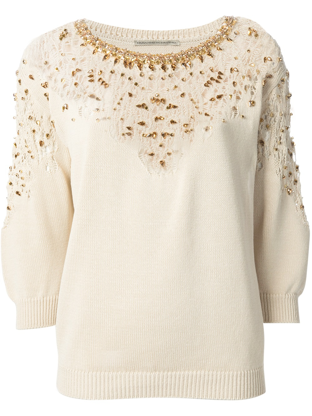 Lyst Ermanno Scervino Jewel Embellished Knit Sweater In