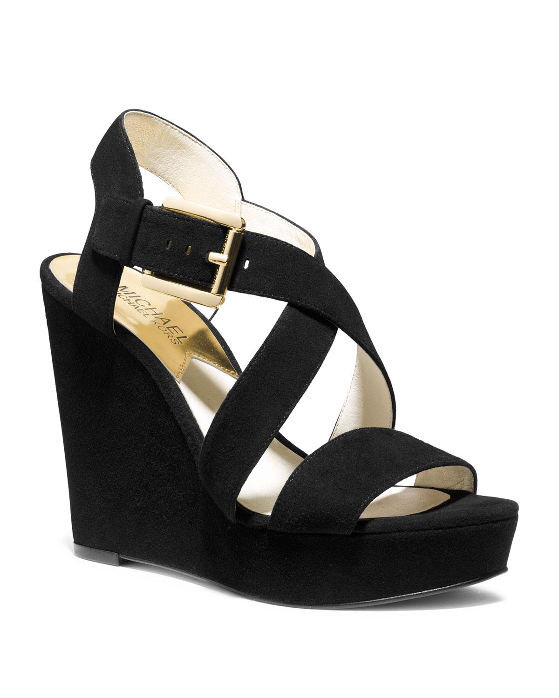 daa74d79659 Lyst - Michael Kors Michael Giovanna Suede Wedge Sandal in Black