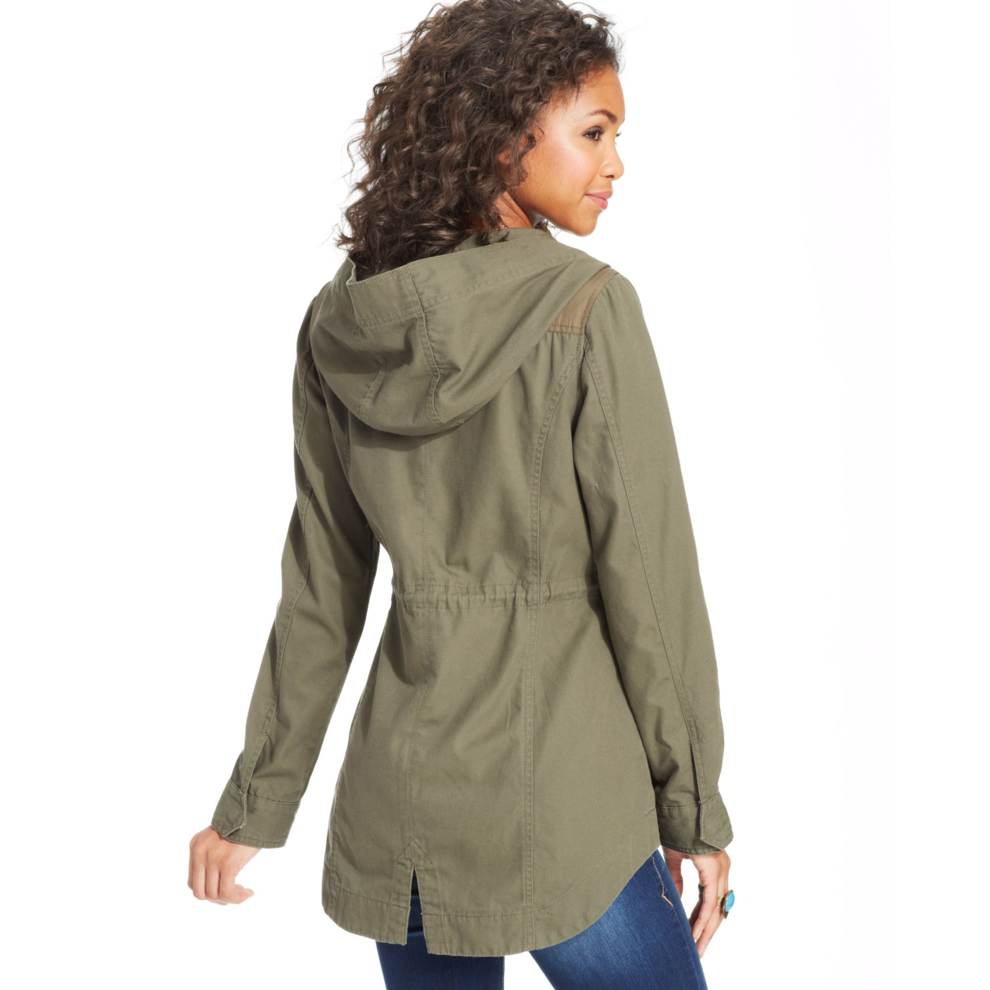 American rag Hooded Anorak Jacket in Natural | Lyst