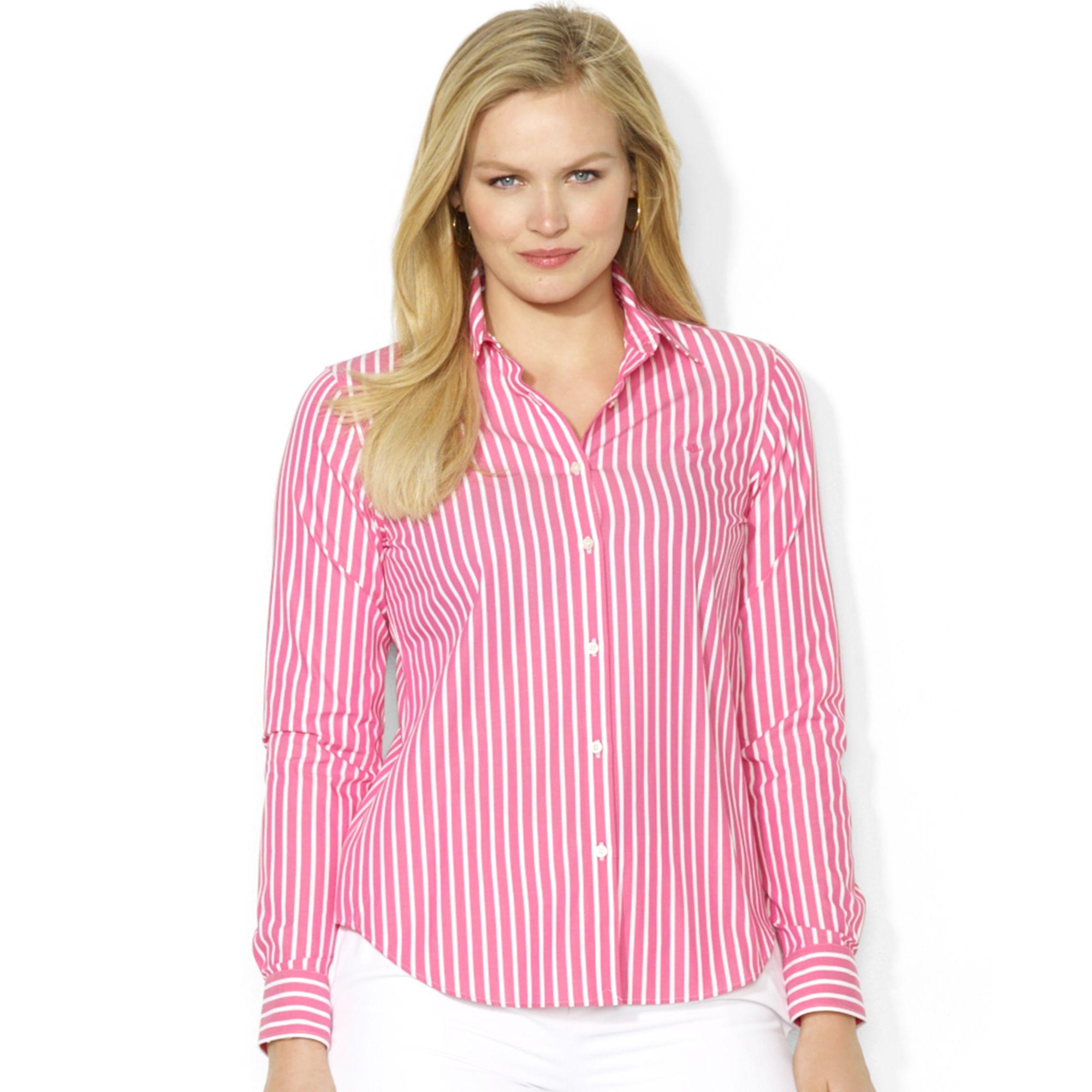 0ce4ee03fea79b ... amazon lyst lauren by ralph lauren plus size striped shirt in pink  0ce2f 8dabf