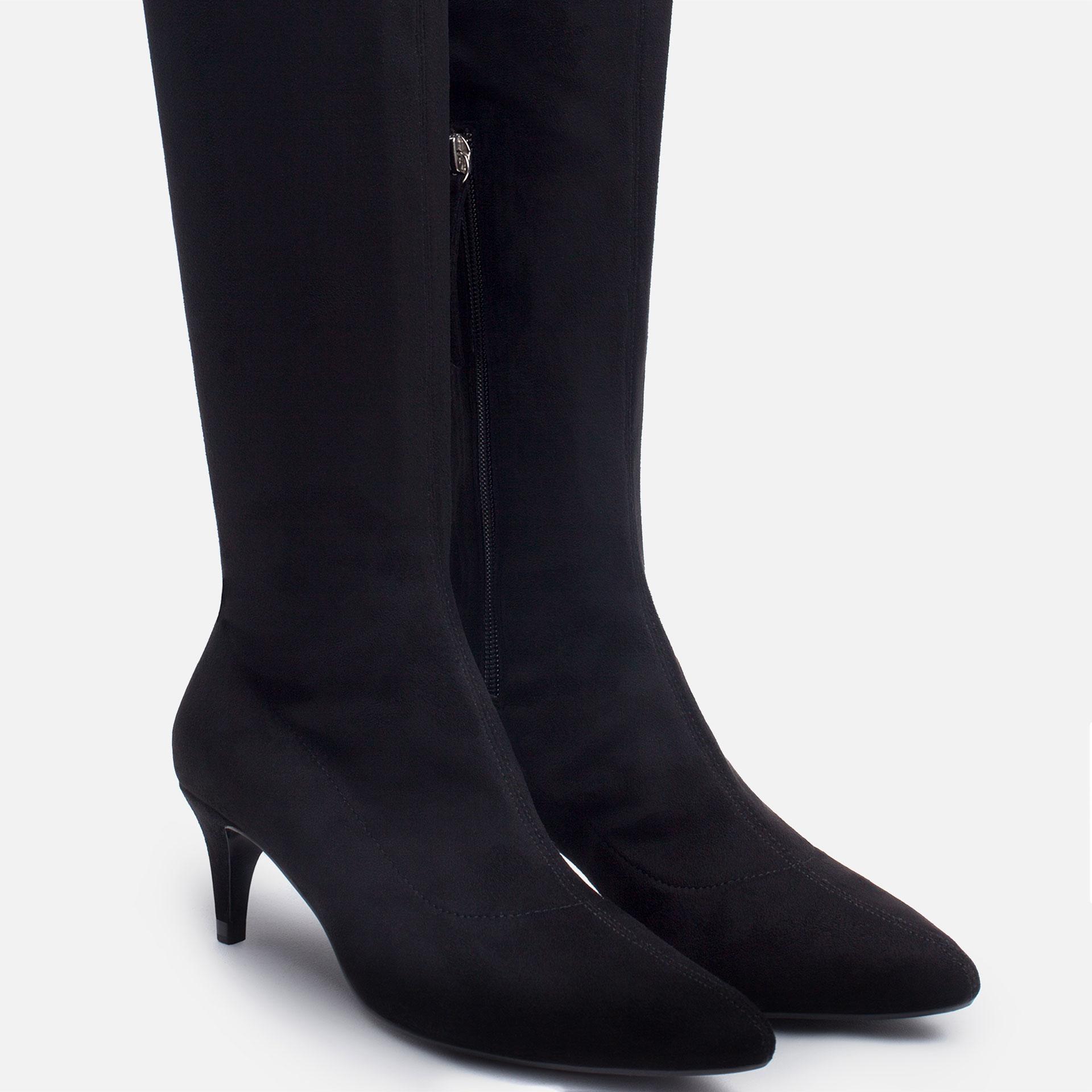 Kitten Heel Leather Boots