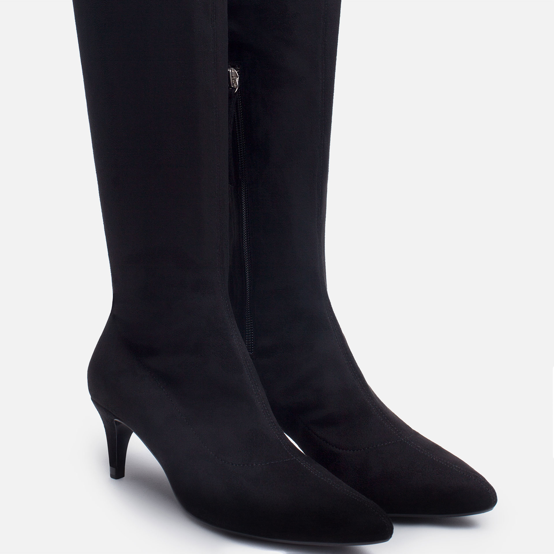 zara the knee kitten heel boots in black lyst