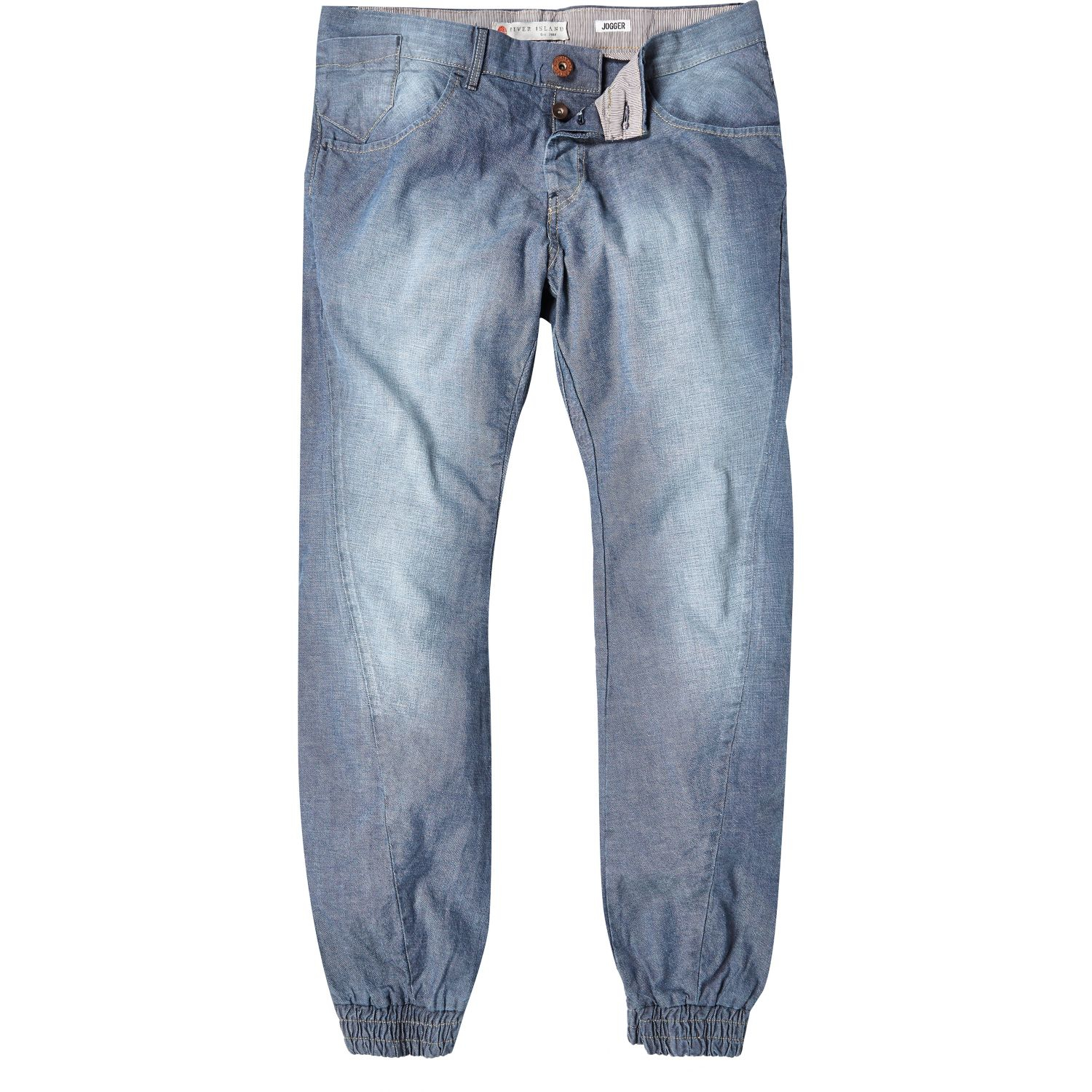Original NEW WOMENS LIGHT BLUE STONE WASH FADED DISTRESSED SLOCUH JOGGER JEANS