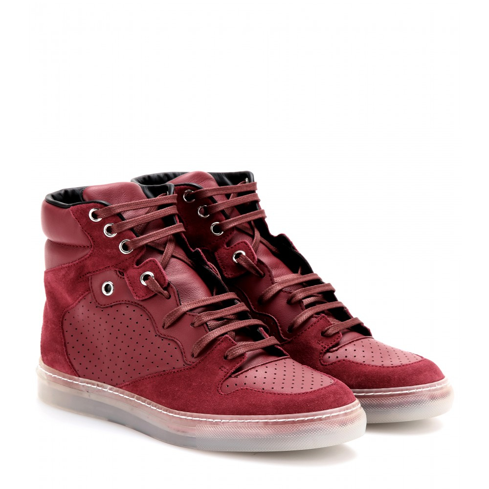 balenciaga leather and suede hightop sneakers in red lyst