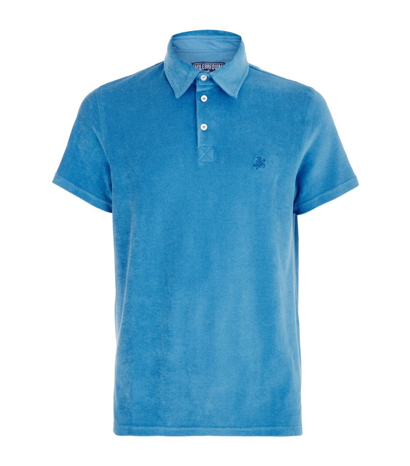 Vilebrequin pavois terry cotton polo shirt in blue for men for Mens terry cloth polo shirt