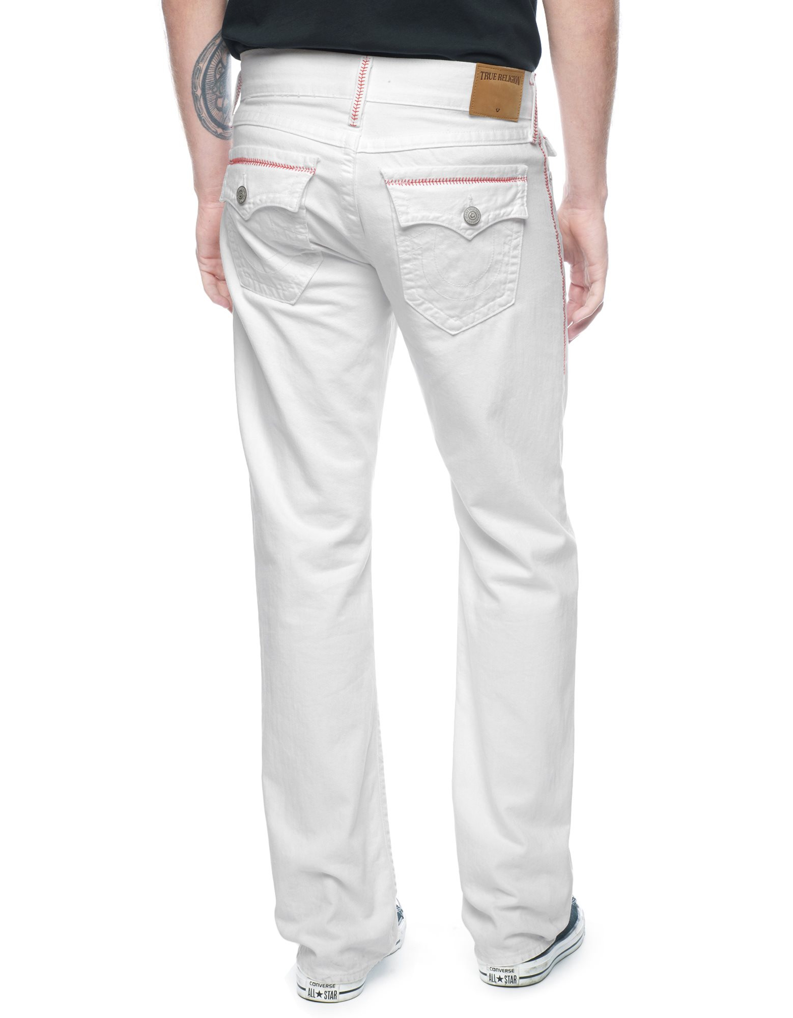 true religion jeans white with black stitching www
