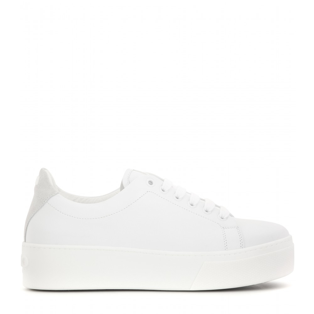 449f6b1d23d6 Lyst - KENZO Platform Leather Sneakers in White