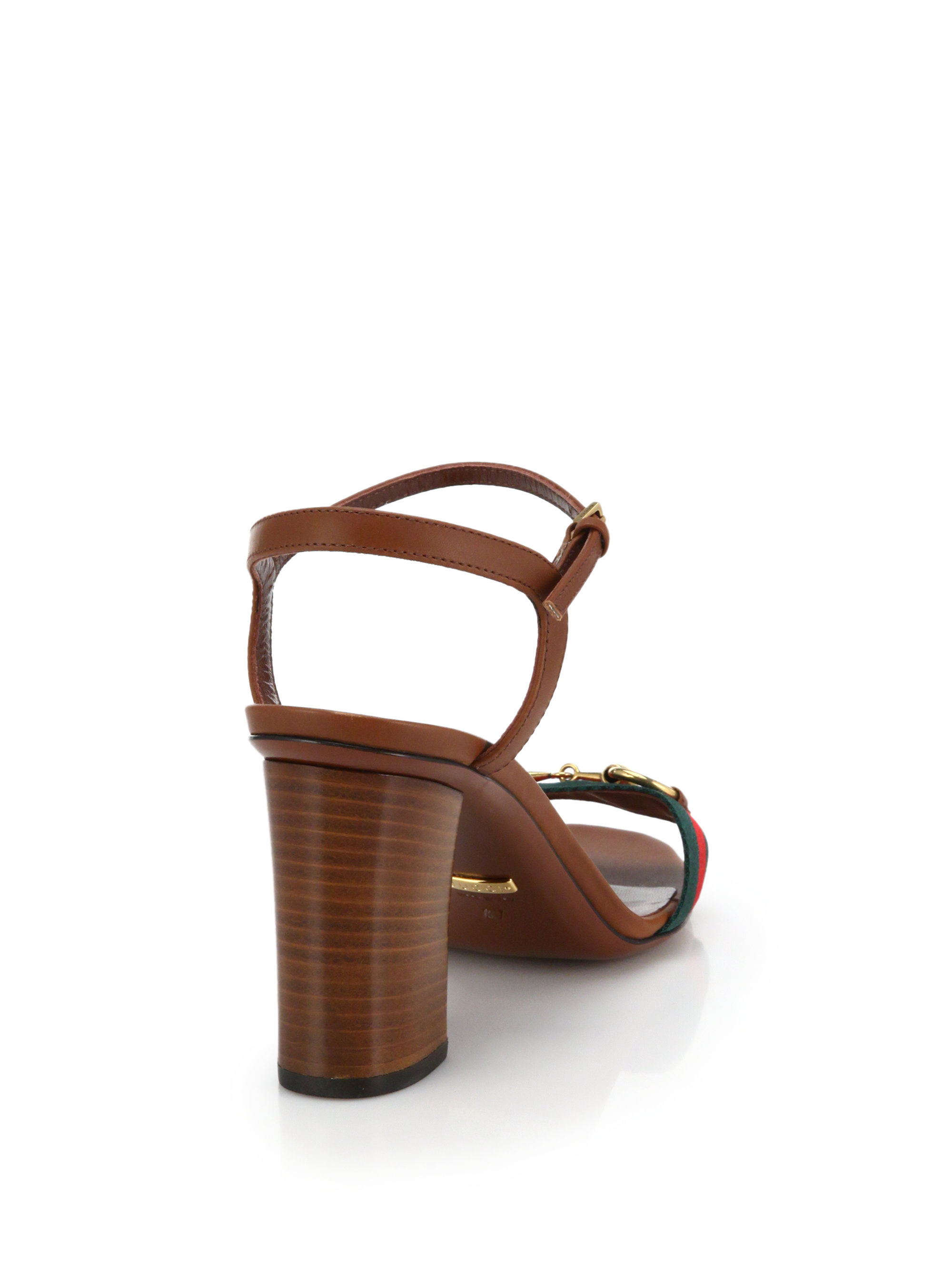 aca15c1dcb Gucci Horsebit Fabric & Leather Sandals in Brown - Lyst