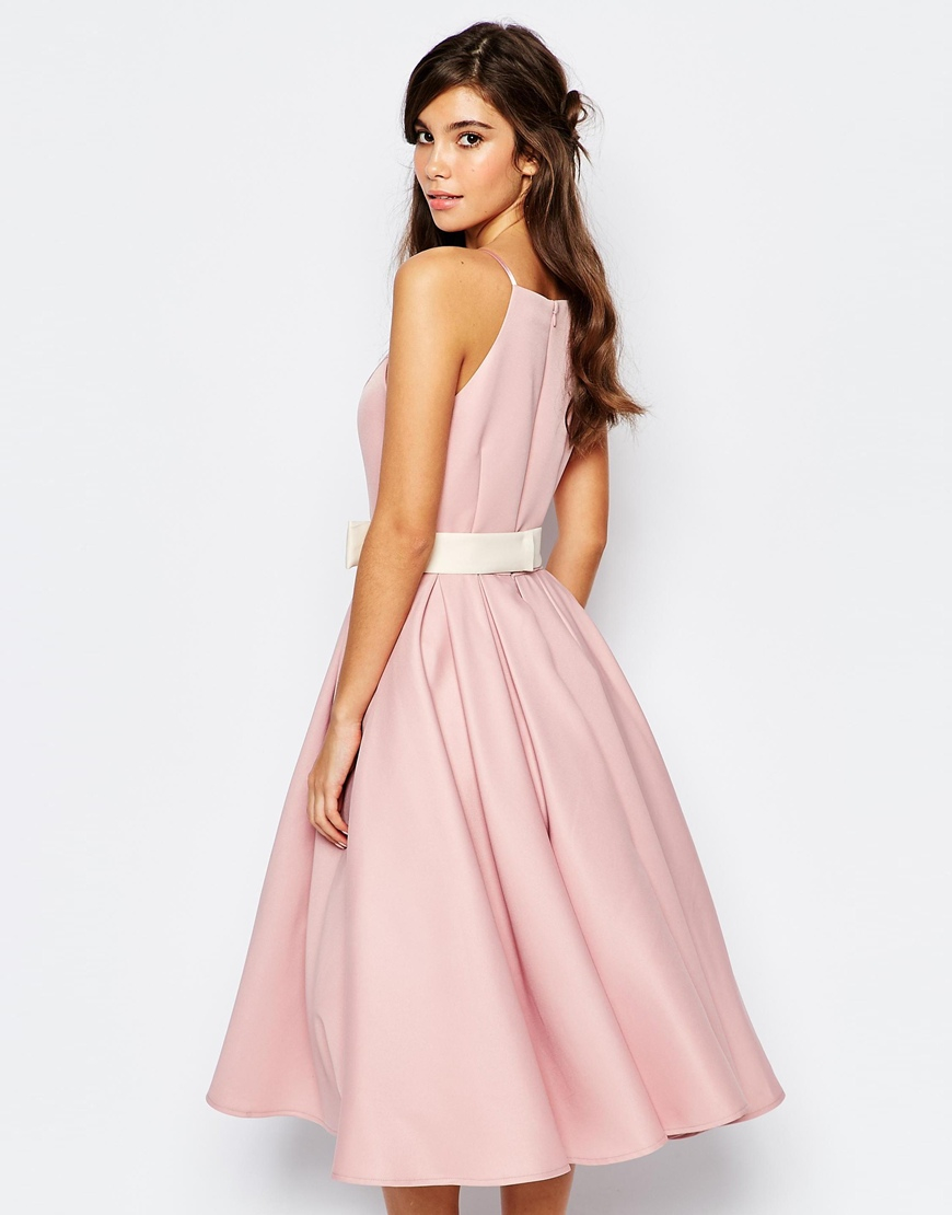 Chi chi london High Neck Midi Prom Dress With Full Skirt in Pink ...