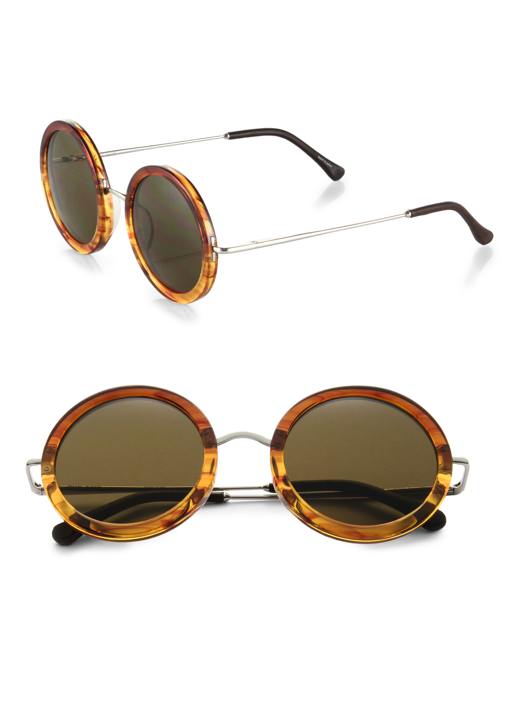 Lyst The Row Round Plastic & Metal Sunglasses in Brown