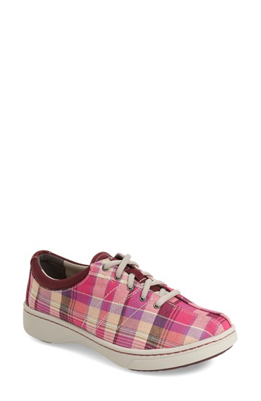 dansko brandi plaid canvas sneakers in pink for lyst