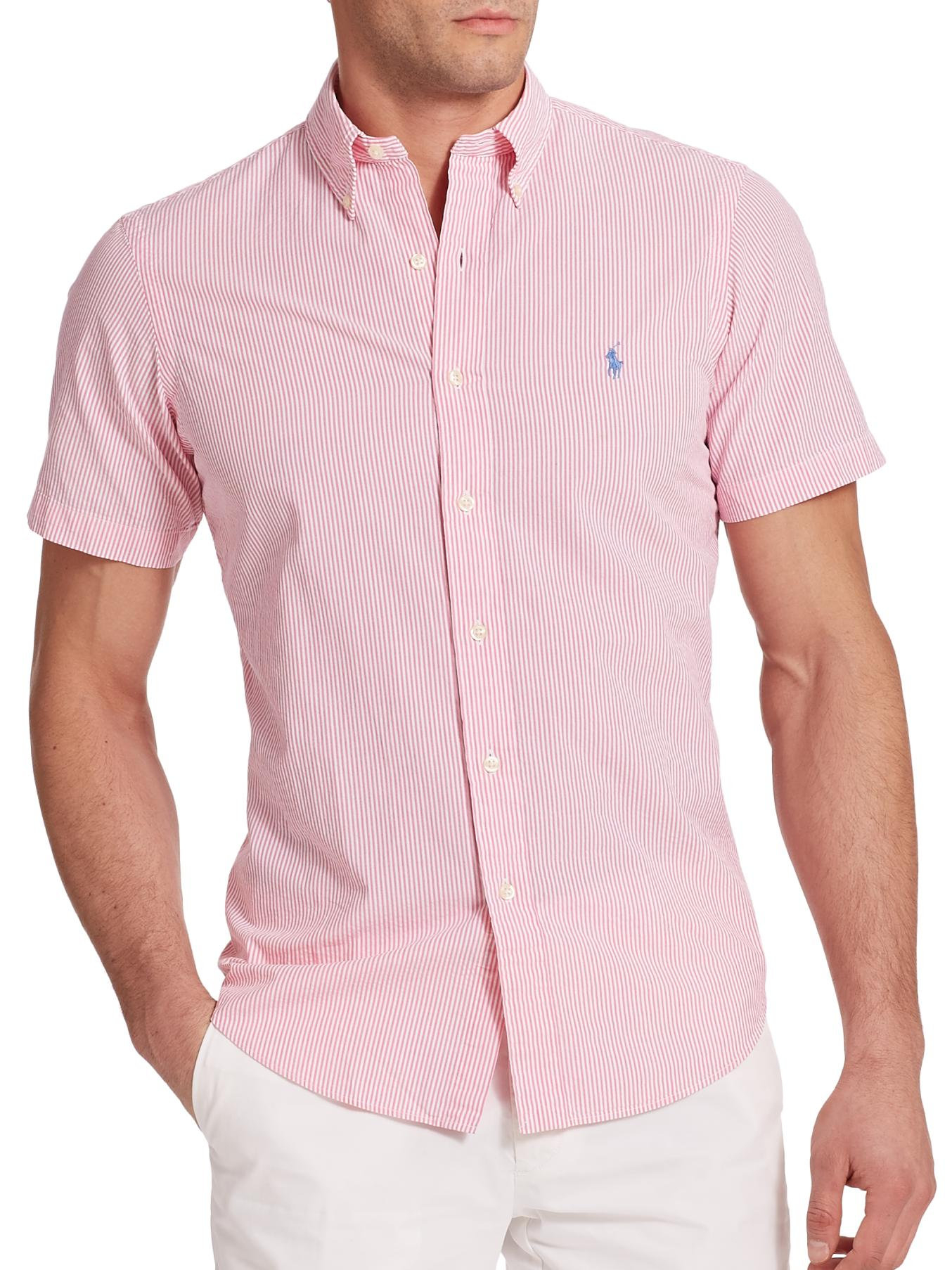 Lyst - Polo Ralph Lauren Striped Seersucker Sportshirt in Pink for Men 22bbd0aae6c1