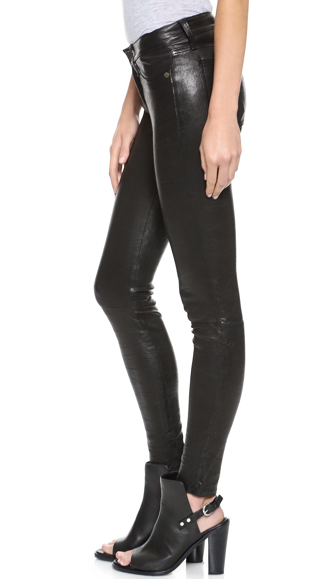 lyst  rag  bone the leather skinny pants  washed black