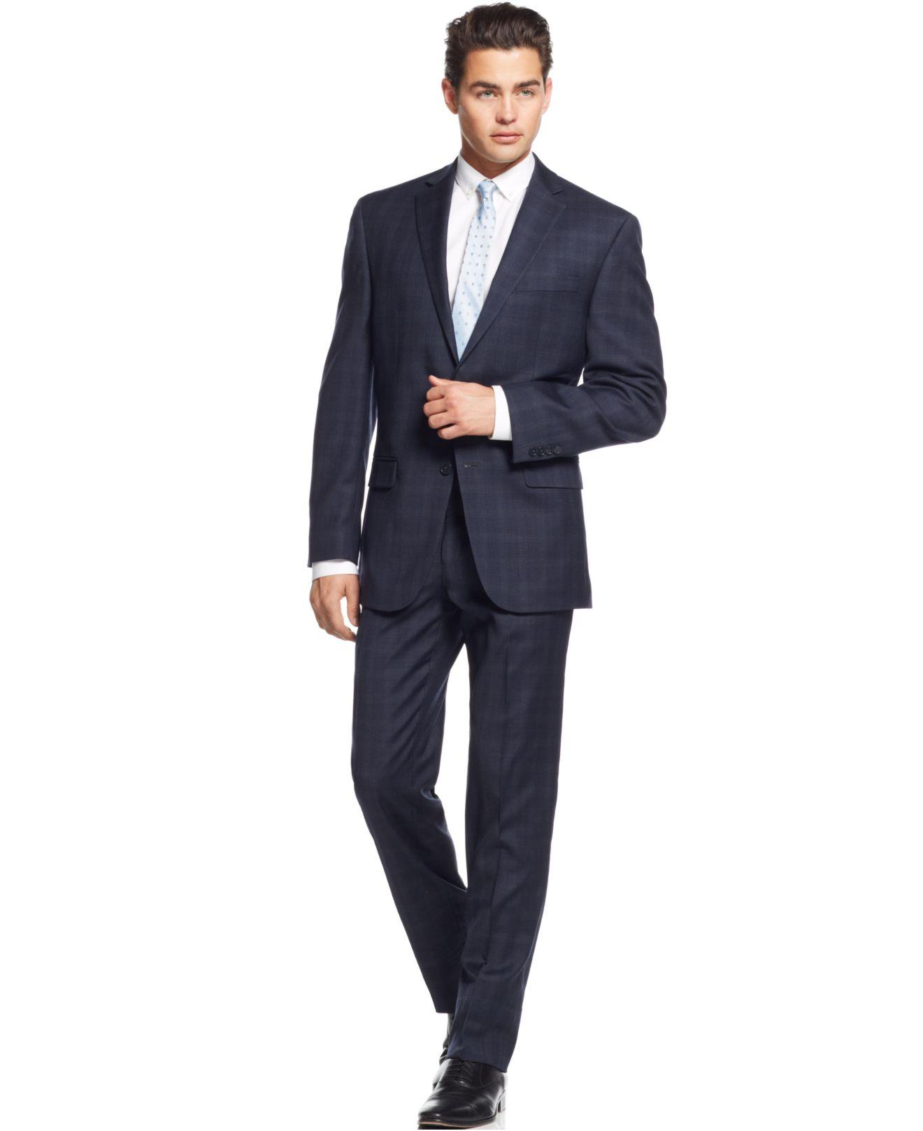 Calvin klein Navy Plaid Slim-fit Suit in Blue for Men | Lyst