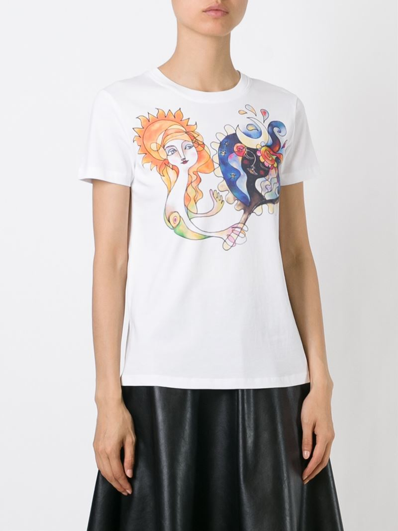 Red valentino printed t shirt in white lyst for Red valentino t shirt