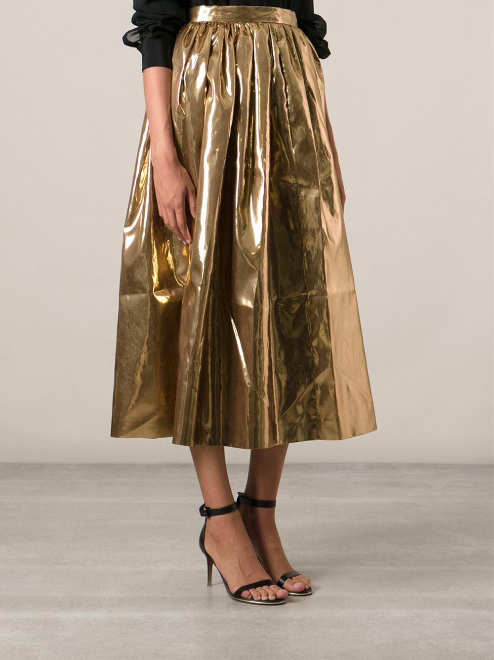 Msgm Long Full Skirt in Metallic | Lyst