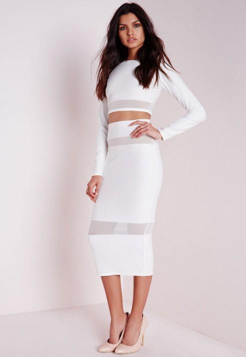 missguided mesh insert midi skirt white in white lyst