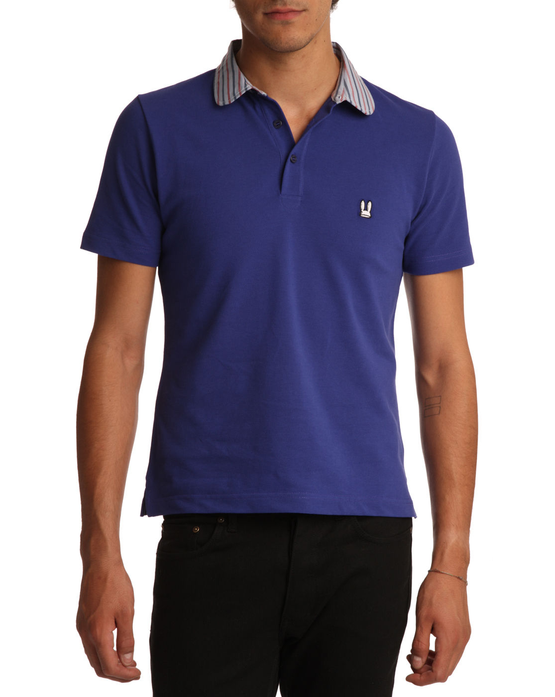 carven purple polo shirt with striped collar in purple for