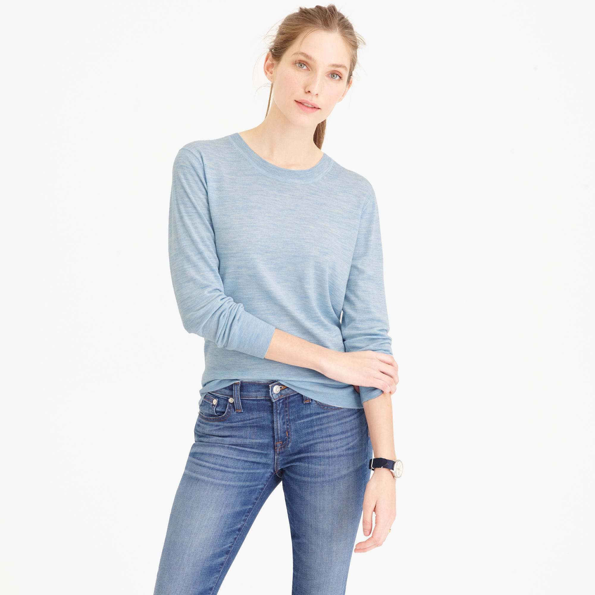 Featherweight merino wool crewneck sweater in blue for Merino wool shirt womens