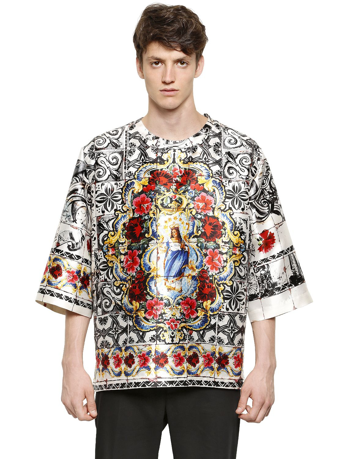 dolce gabbana oversized madonna silk mikado t shirt for