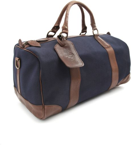 ... Lauren Canvas and Leather Navy Blue Weekend Bag in Blue for Men (navy
