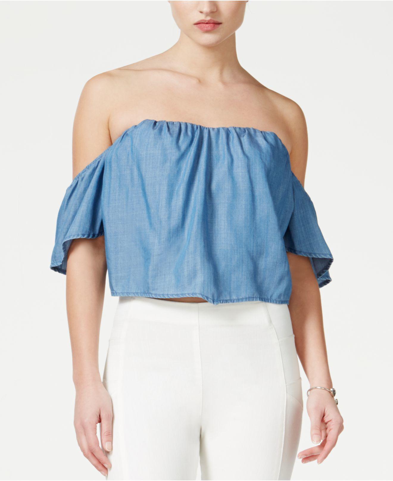 Guess Denim Off-the-shoulder Corset Crop Top in Blue | Lyst