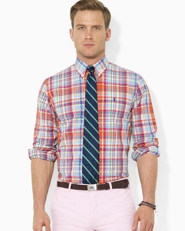 Lyst ralph lauren polo custom plaid poplin button down for Polo ralph lauren casual button down shirts
