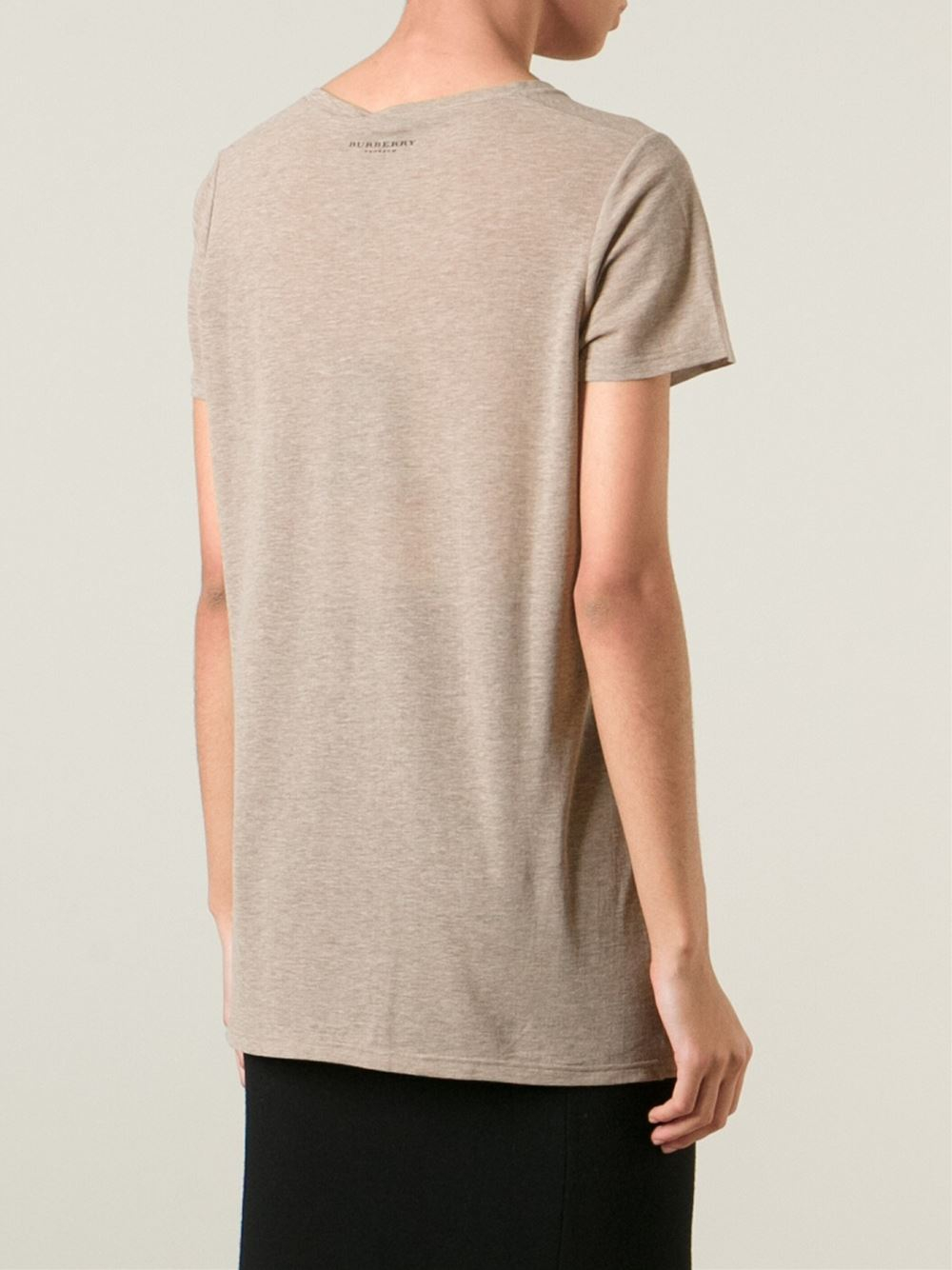 burberry prorsum plum print t shirt in natural lyst. Black Bedroom Furniture Sets. Home Design Ideas